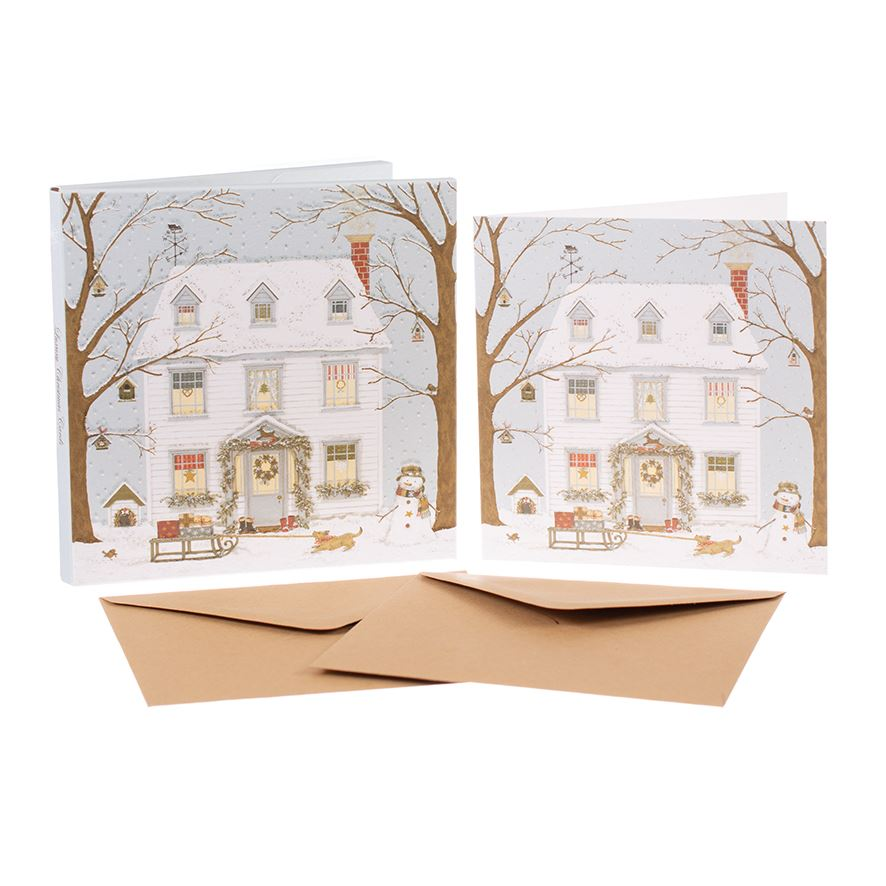 Christmas House - Christmas Card Box Set - 8 Luxury Cards & Envelopes - Sally Swannell