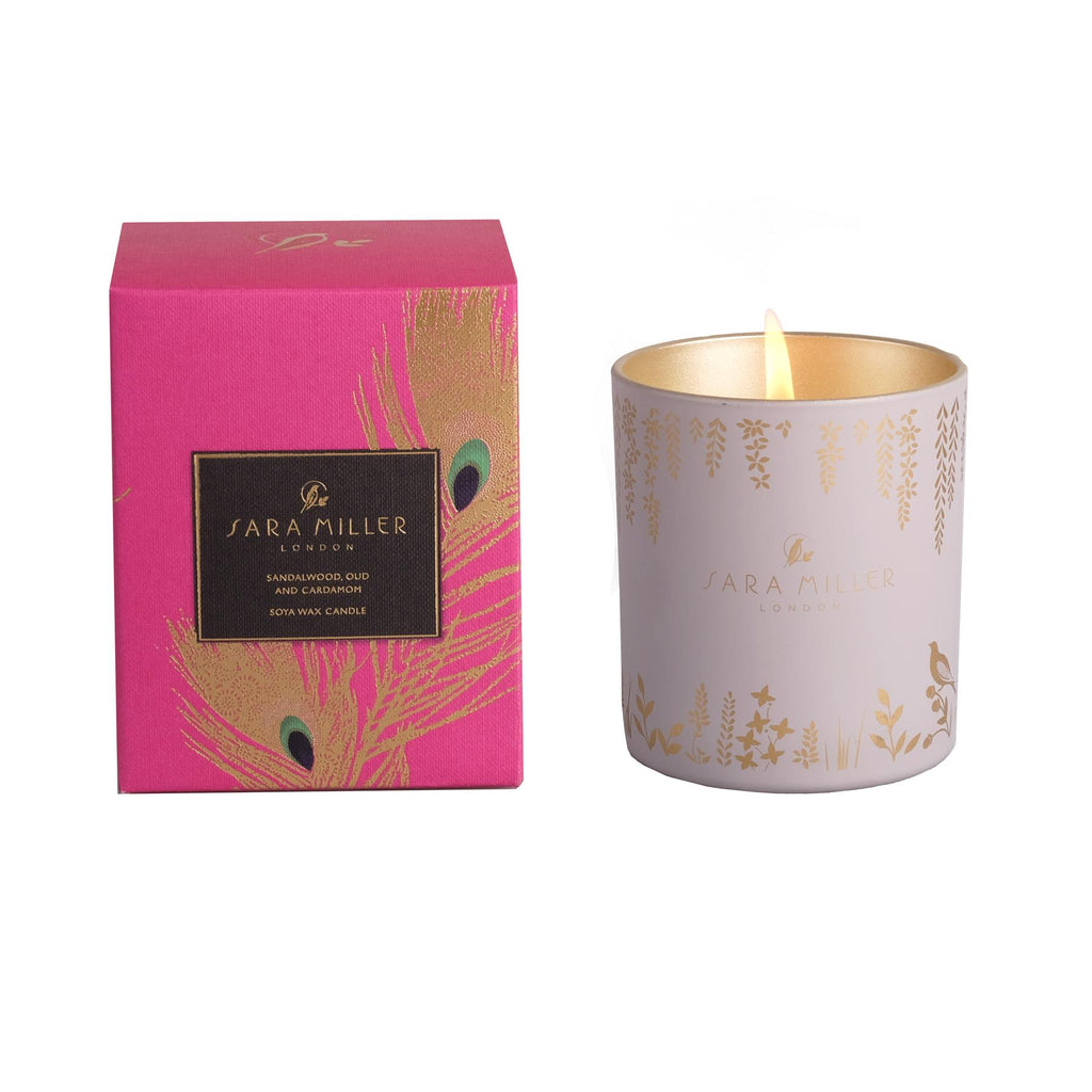 Sara Miller - Soya Wax Candle 240g/60hrs Burn Time - Sandalwood, Oud & Cardamom