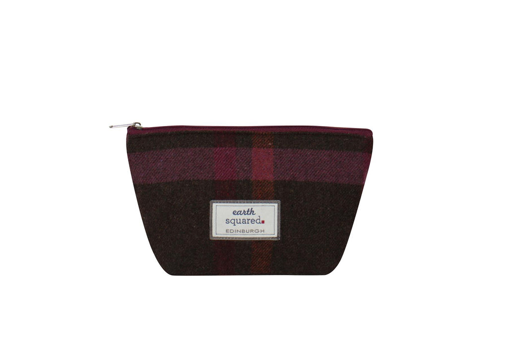 Earth Squared - Make-Up Bag - Tweed Wool - Mulberry - 25x13.5x8cms