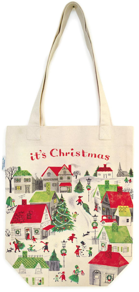 Cavallini - 100% Natural Cotton Vintage Tote Bag - 33x40.5cms - Christmas Village