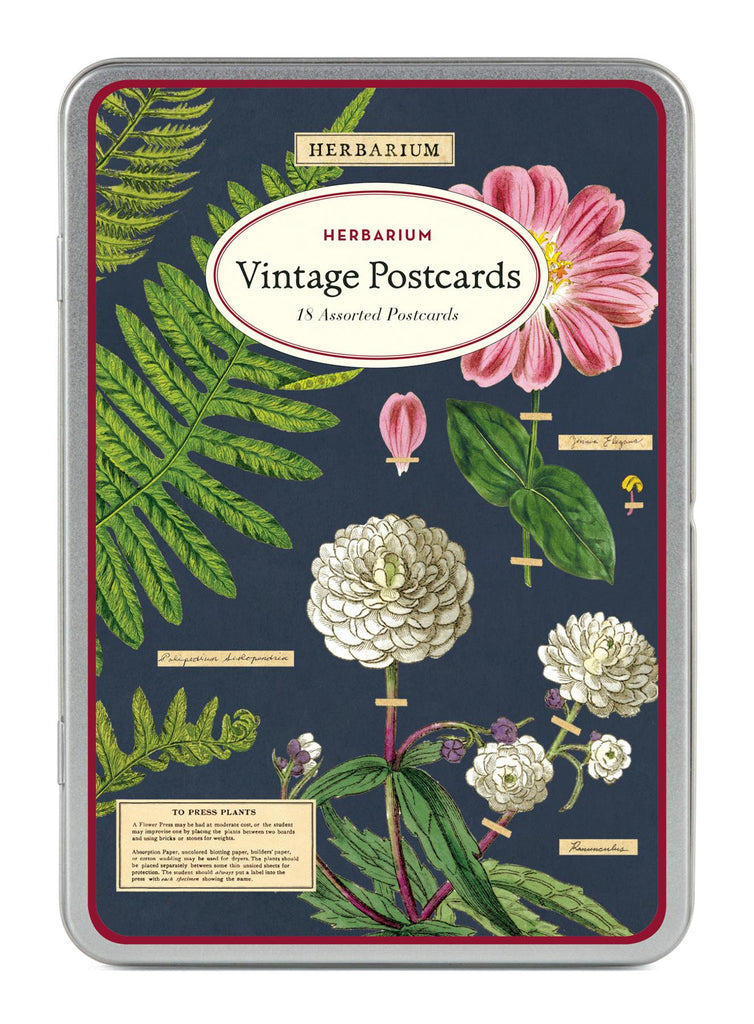 Cavallini - Carte Postale - Herbarium - Tin of 18 Postcards - 9 Designs/2 Per Design