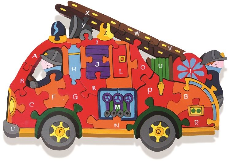 Alphabet Jigsaws - Wooden Fire Engine A-Z Puzzle - Chunky, Bright & Educational - 33.5x22cms