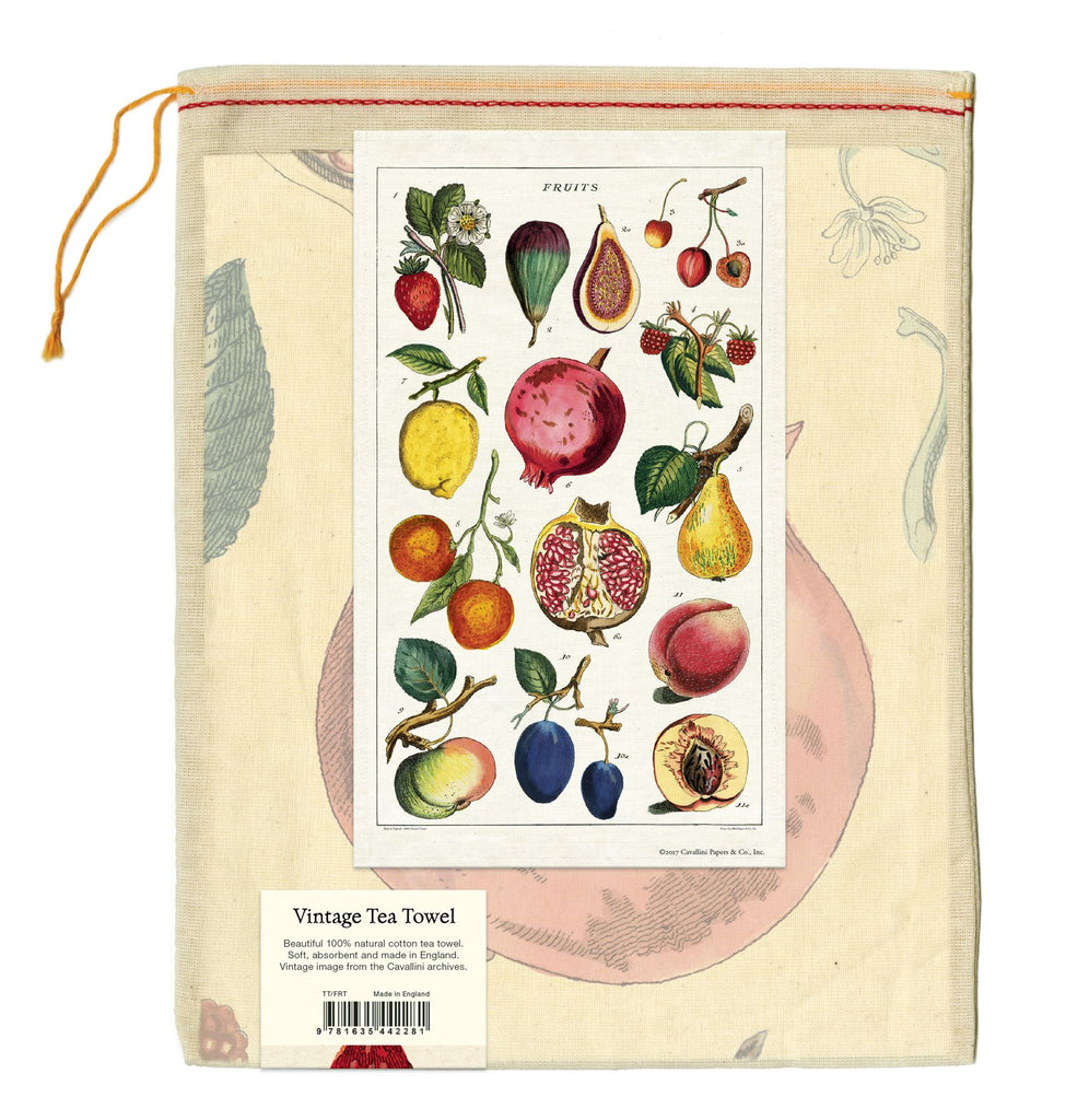Cavallini - 100% Natural Cotton Vintage Tea Towel - 80 x 47cms - Fruit