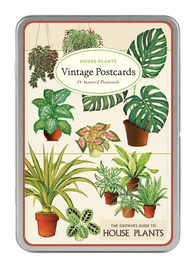 Cavallini - Carte Postale - House Plants - Tin of 18 Postcards - 9 Designs/2 Per Design