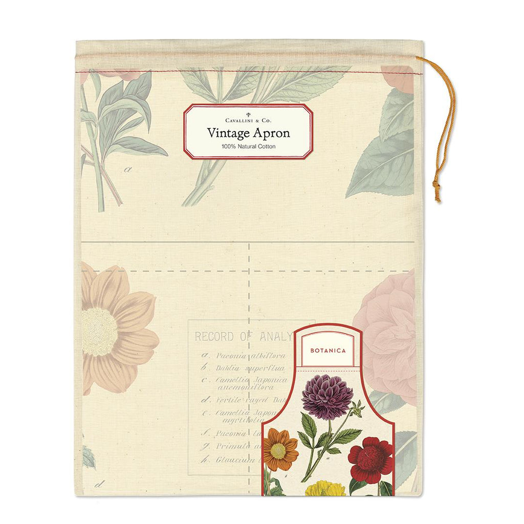 Cavallini - 100% Natural Cotton Vintage Apron - 48x80cms - Botanica/Flowering Plants