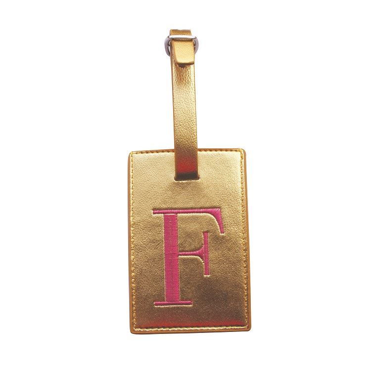 Bombay Duck - Monogrammed Metallic Embroidered Alphabet Luggage Tag - A to Z
