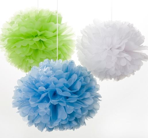 Large Colourful Pom Poms - Set of 3 - Blue, Lime, White - Engel/Life's A Party