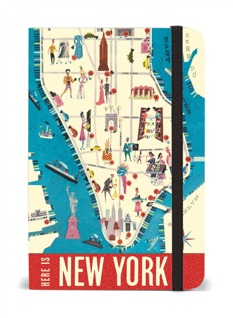 Cavallini - Small Lined Pocket Notebook 4x6ins - New York Map - 256 Pages With Elastic Enclosure