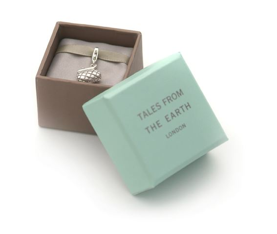 Sterling Silver Charm - Tales From The Earth - Clover - Presented In Pale Blue Gift Box
