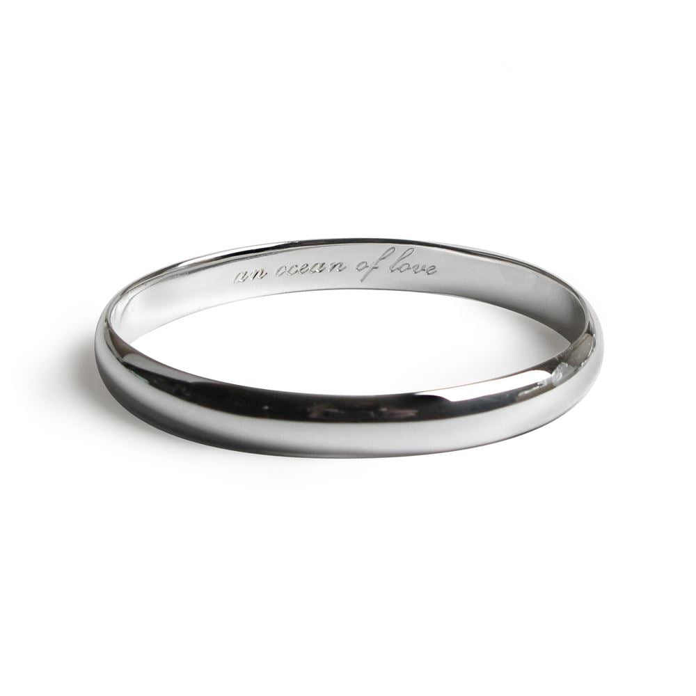 Message Bangle - Ocean of Love - Rhodium Plated - Tales From The Earth - Presented In Pale Blue Gift Box