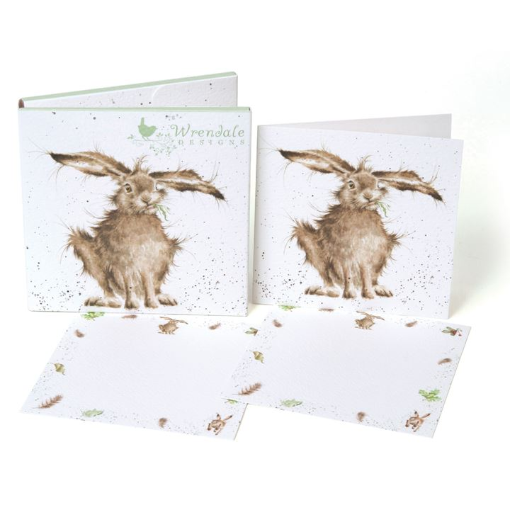 Hare Brained - Notecard Pack - 4 Folding/8 Flat Cards & 12 Envelopes