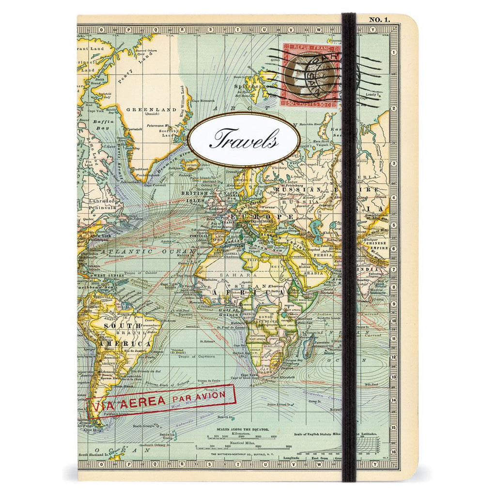 Cavallini - Large Lined Notebook 6x8ins - Vintage World Map - Travels - 144 Pages With Elastic Enclosure
