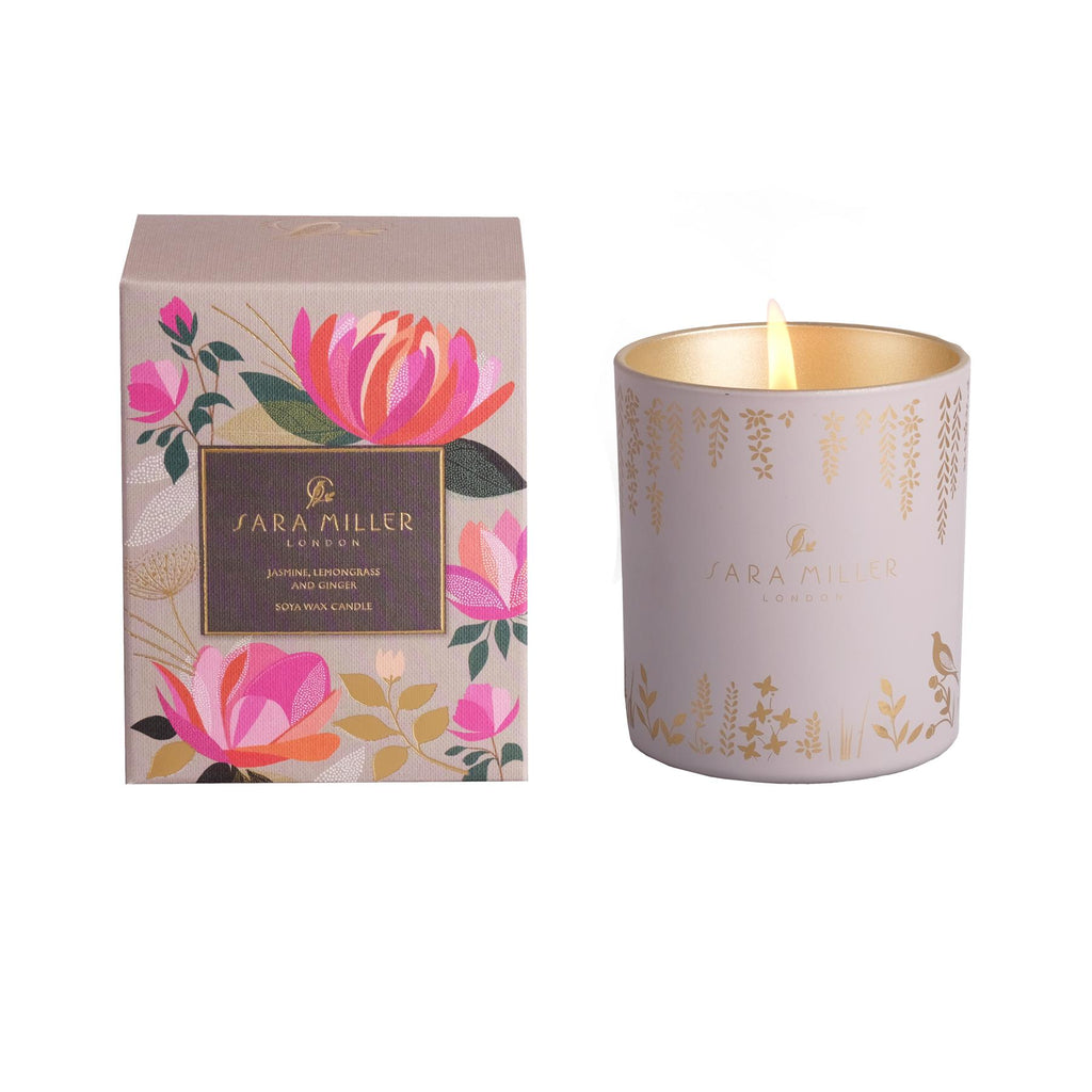 Sara Miller - Soya Wax Candle 240g/60hrs Burn Time - Jasmine, Lemongrass & Ginger