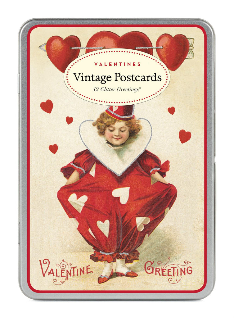 Cavallini - Glitter Greetings Carte Postale - Vintage Valentines - Tin of 12 Postcards - 6 Designs/2 Per Design