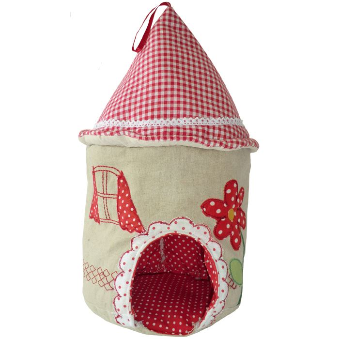 Pretty Mouse House - Embroidered & Patchwork With Red Gingham Roof - Powell Craft - 38x20cm