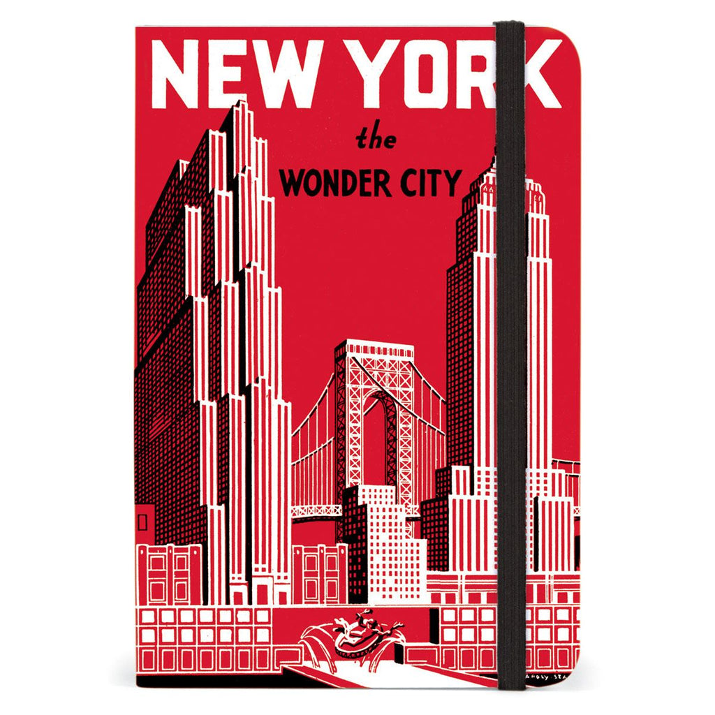 Cavallini - Small Lined Pocket Notebook 4x6ins - New York The Wonder City - 256 Pages With Elastic Enclosure