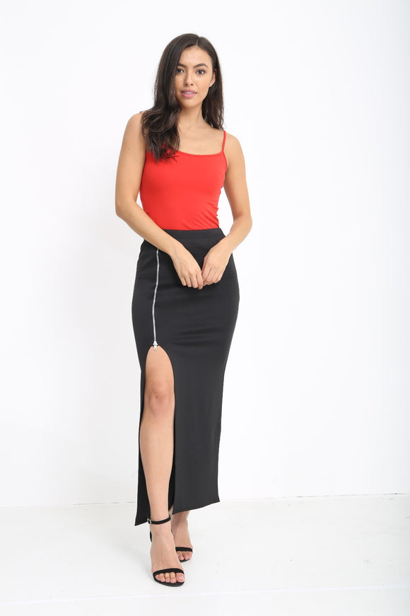 Women's Long Front Side Split Slit Zip Skirt Ladies Stretch Fancy Rehana Skirt