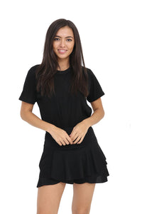Women's High-Waist Layered Ruffle Short Skirt