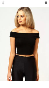 Off-Shoulder Cap Sleeve Crop Top