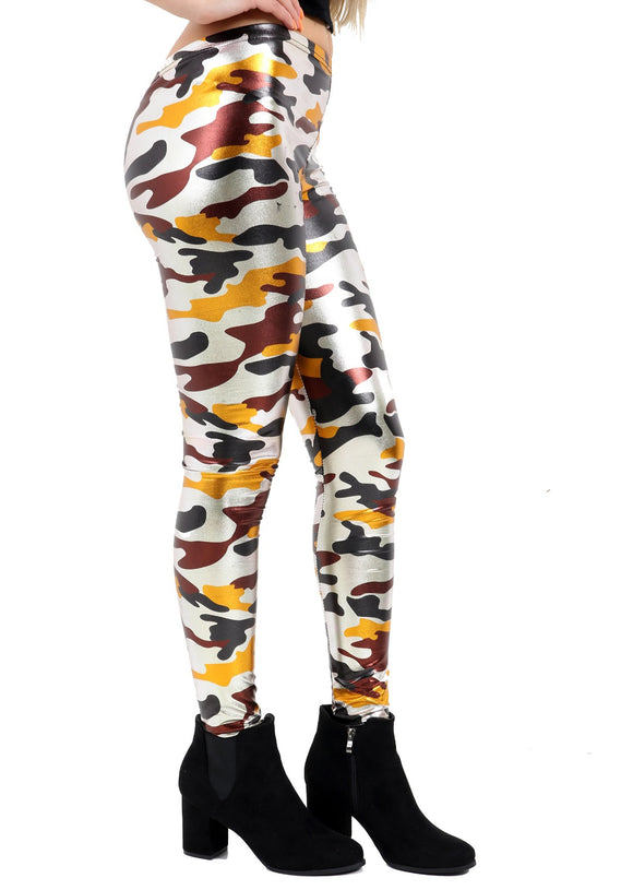 Womens Shiny Legging Metallic Liquid Hot Pants Multi Colour Camouflage Hot Jegging