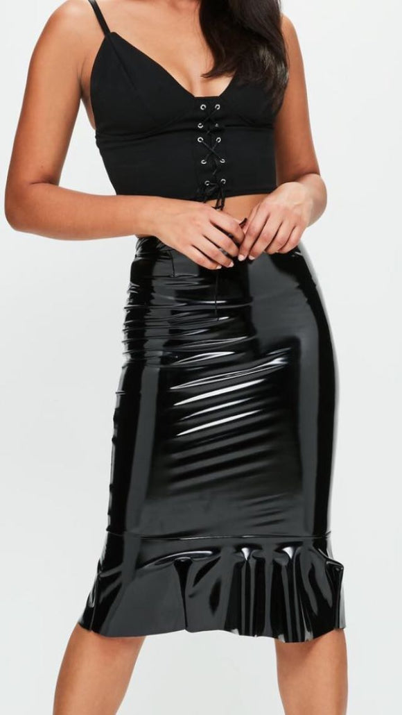 Women Leather Wet Look Black Skinny Midi Body Con Skirt