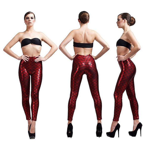 Women Mermaid Fish Scale Print Slim Fit Shiny Disco Metallic Leggings Pants created red