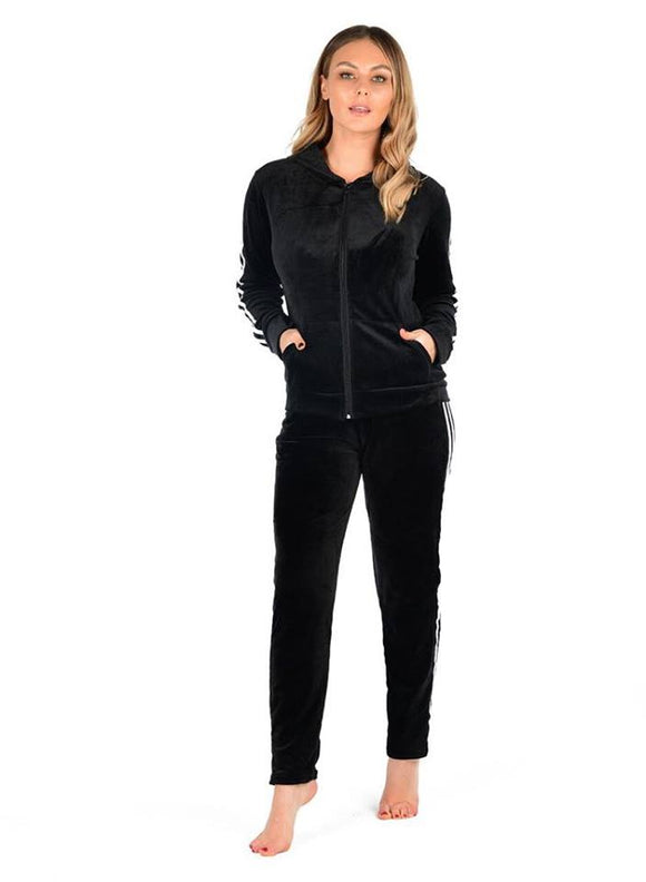 Women's Ladies Velour Velvet Hooded Side Striped Zip Up Lounge wear Tracksuit Set black