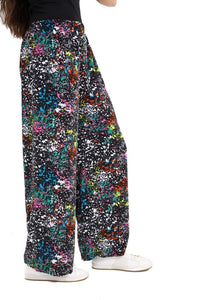 Womens Abstract Printed Wide Leg Palazzo Ladies Full Length Fancy Party Trousers paint splash