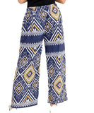 Womens Abstract Printed Wide Leg Palazzo Ladies Full Length Fancy Party Trousers navy multi aztec