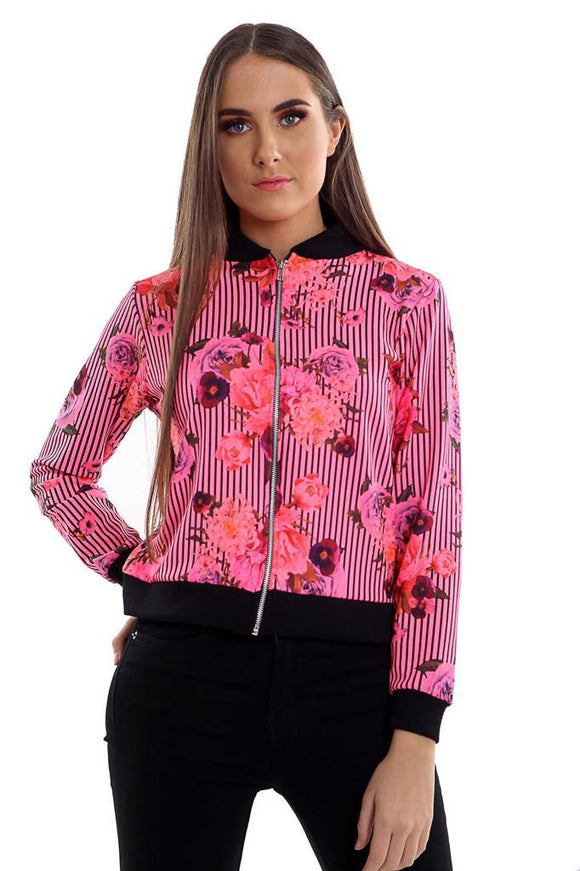 Women's Ladies Zip Biker Bomber Jacket Blazer pink floral uk seller