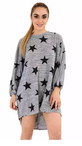 Womens Ladies Star Print Batwing Loose Fit Baggy Hi Lo Long Knitted Jumper Top black