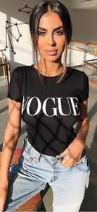 VOGUE Celebrity Fashion Women Vouge Slogan Printed Ladies T-Shirt Tops Black