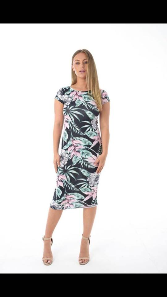 Women Ladies Tropical Floral Print Body Con Midi Dress Maxi Style