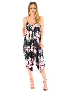 New Womens Ladies Cami Strappy Baggy Lagenlook Harem Dress Playsuit Jumpsuit Top In Floral Print