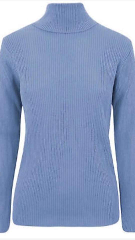 a054ad7abcfc ... Womens Knitted Polo Jumper Ladies Long Sleeve Ribbed High Roll Neck Top  ...