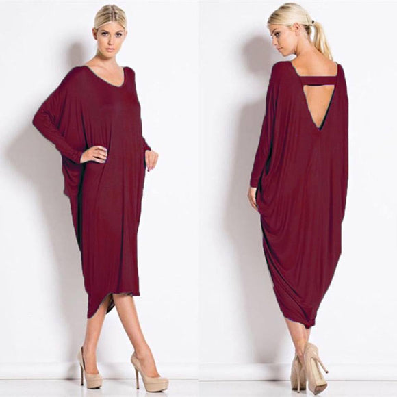 Women Ladies Long Sleeves V Neck Backless Baggy Cocktail Midi Dress