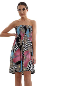 New Women's Ladies Printed Sheering Boobtube Bandeau Mini Dress Top