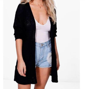 Women's Ladies Knitted Front Open With Pockets Boyfriend  Cardigan