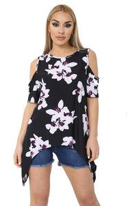 Women Cold Shoulder Printed Floral Cut Out Shoulder Loose Fit Hanky Top