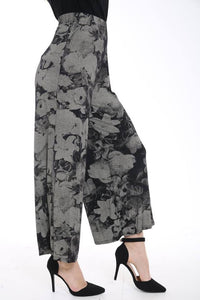 Womens Palazzo Trousers Ladies Tydye Floral Print Wide Leg Palazzo Trousers Pants