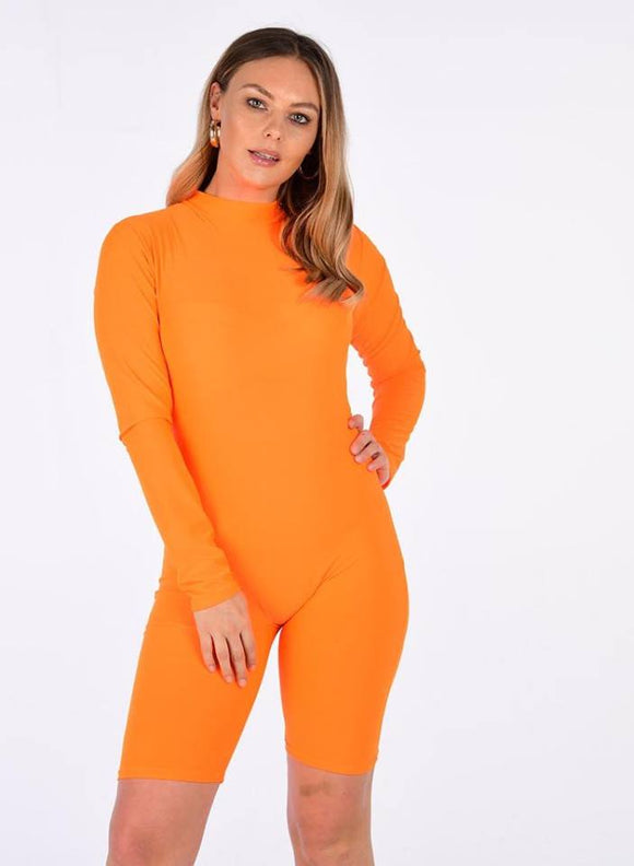 Women Ladies Neon All In One High Neck Unitard Jumpsuit Playsuit Short Dress
