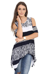 Women Cold Shoulder Printed Black & Navy Cut Out Shoulder Loose Fit Hanky Top