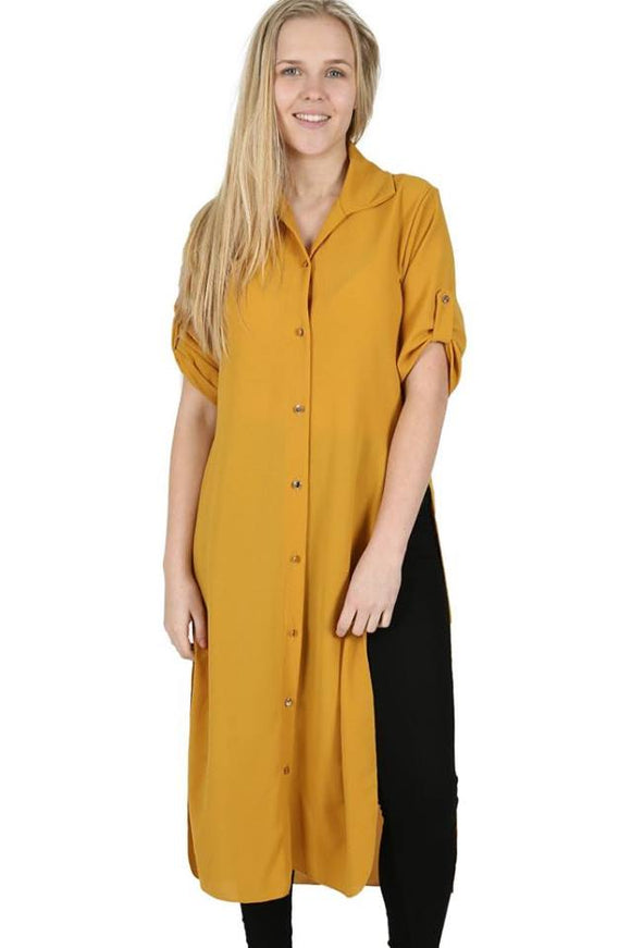 Women Buttons Collar Long Sleeve Long Shirt Dress