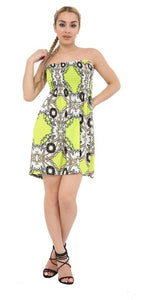 New Womens Ladies Floral Print Elasticated Bust Bandeau Sheering Top Mini Dress
