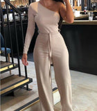 Womens One Shoulder Jumpsuit One Sleeve Shoulder Strap Self Belt
