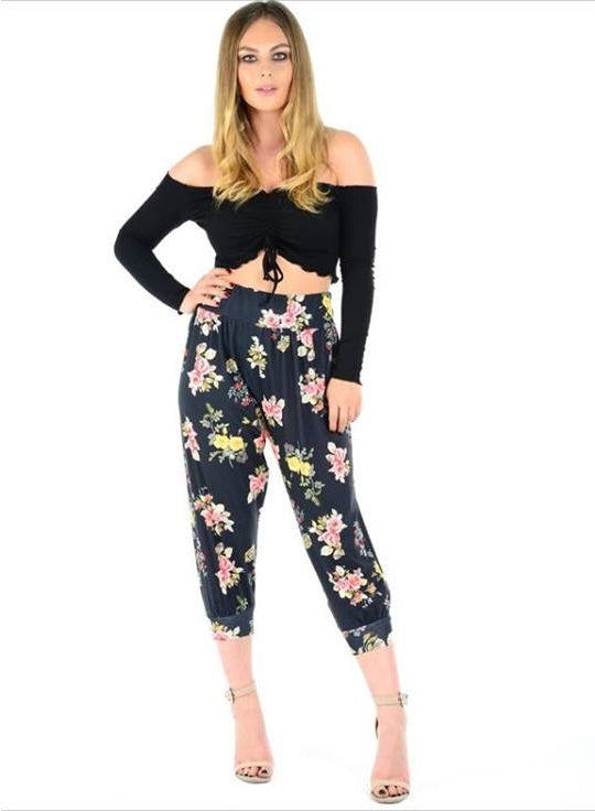Womens 3/4 Floral Printed Ali Baba Harem Trouser  Baggy Pants