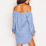Women's Cold Off Shoulder Denim Jeans Look Casual Tops Mini Shirt Dress