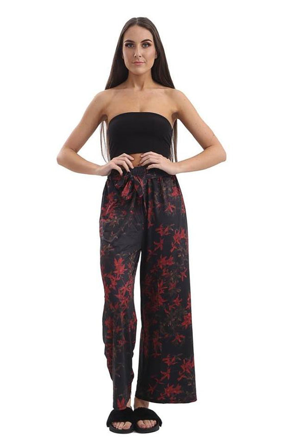Womens Ladies High Waisted Printed Palazzo Flared Wide Leg Trouser Pants Legging