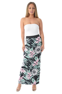 Women Ladies Tropical Floral Print Body Con Midi Dress Maxi Skirt Various Style
