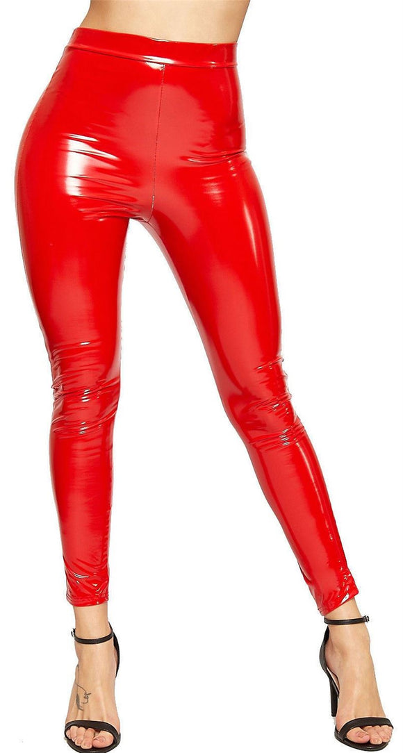 Women Ladies Vinyl PVC Wet Look Shiny Disco Elasticated High Waist Leggings Pant red